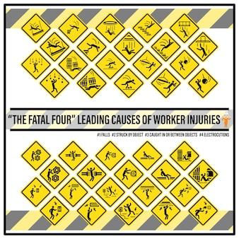 Zestaw znaków bezpieczeństwa i symboli fatalnej czwórki
