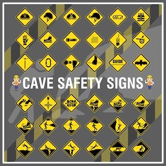 Zestaw znaków bezpieczeństwa i symboli jaskini. znaki bezpieczeństwa jaskini.
