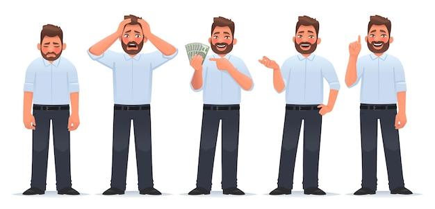 Zestaw znaków biznesmena facet w różnych akcjach mężczyzna jest zmęczony, jest w szoku