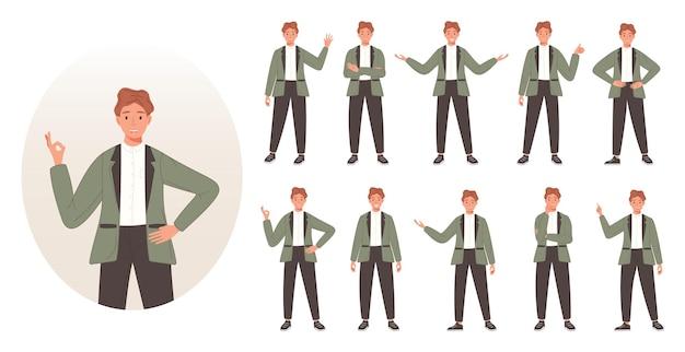 Zestaw znaków biznesmena pokazujący różne gesty kreskówka pracujący mężczyźni