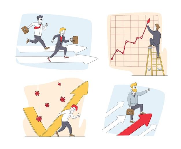 Zestaw znaków biznesmeni i rosnące strzałki