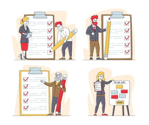 Zestaw znaków biznesmeni z planowaniem planowania listy kontrolnej z listą kontrolną