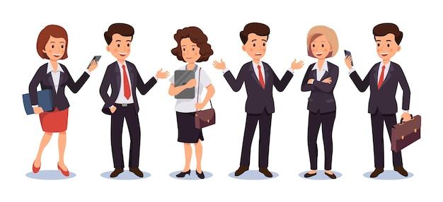 Zestaw znaków biznesowych mężczyzn i kobiet