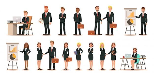 Zestaw znaków biznesowych pracujących w biurze