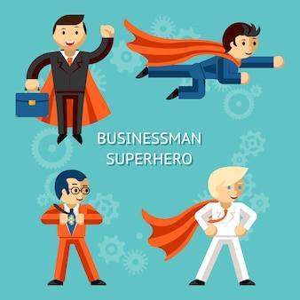 Zestaw znaków biznesowych superbohaterów. super biznesmen, osoba kreskówka.