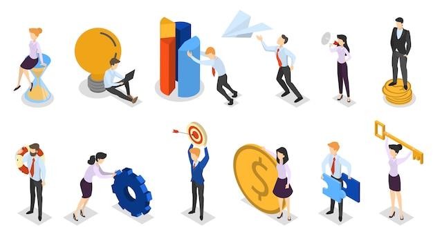 Zestaw znaków biznesowych w garniturze. zbiór zapracowanych pracowników biurowych w różnych sytuacjach. mężczyźni i kobiety trzymający pieniądze i klucze, znajdź rozwiązanie. ilustracja izometryczna