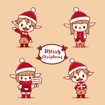 Zestaw znaków boże narodzenie szczęśliwy elfów. pomocnicy świętego mikołaja trzymają pudełko i uśmiechają się.