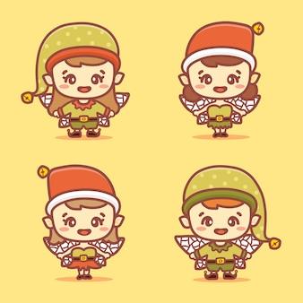 Zestaw znaków boże narodzenie szczęśliwy elfy dzieci. pomocnicy świętego mikołaja, uśmiechając się i śmiejąc się.