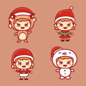 Zestaw znaków boże narodzenie szczęśliwy elfy dzieci. śliczni pomocnicy świętego mikołaja i bałwan. styl kawaii