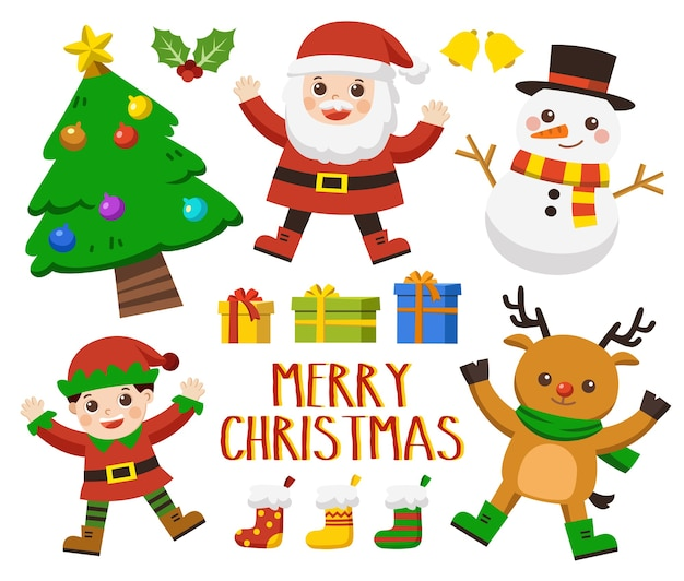 Zestaw znaków bożonarodzeniowych [jeleń, mikołaj, elf, drzewo i bałwan] zestaw wesołych świąt.