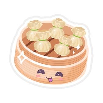 Zestaw znaków chińskich dim sum słodkie kawaii. azjatyckie danie z uśmiechniętą twarz. wschodnia tradycyjna kuchnia. rodzaj pierogów. śmieszne emoji, emotikony. ilustracja kolor kreskówka na białym tle