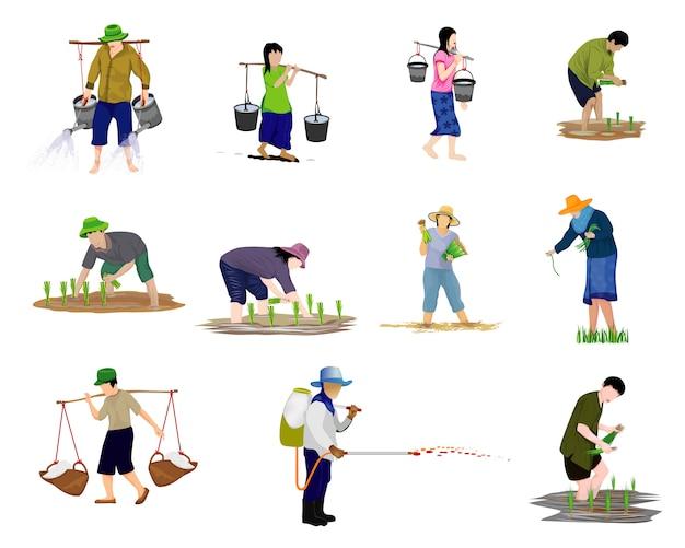 Zestaw znaków chińskiego rolnika mężczyzny i kobiety
