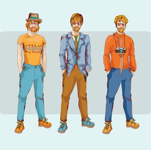 Zestaw znaków chłopca hipster