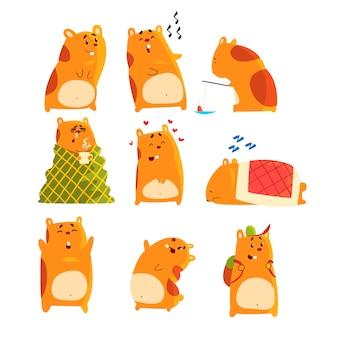 Zestaw znaków chomika kreskówka, zabawne zwierzę pokazujące różne działania i emocje