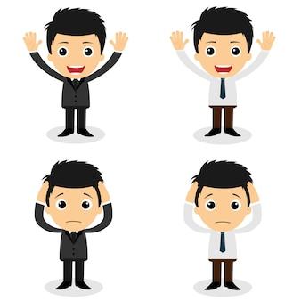 Zestaw znaków cute biznesmen i pracownik biurowy stawia w różnych