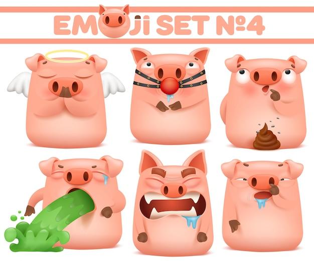Zestaw znaków cute cartoon emoji wieprzowych w różnych emocji. ilustracji wektorowych