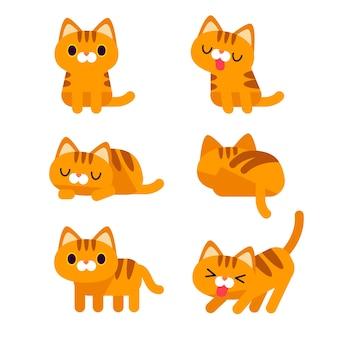 Zestaw znaków cute cat w różnych pozach działania na białym tle.