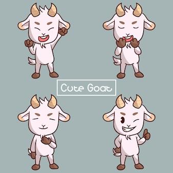 Zestaw znaków cute kozy