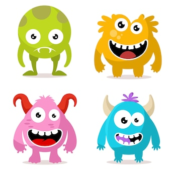 Zestaw znaków cute potworów