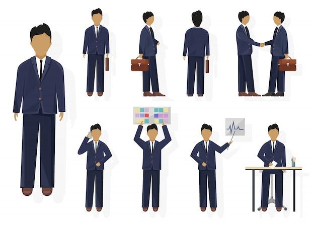 Zestaw znaków człowieka biznesu. kobieta o różnych poglądach, pozach i gestach. na białym tle osoba płaski