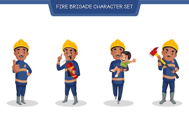 Zestaw znaków człowieka straży pożarnej w stylu cartoon