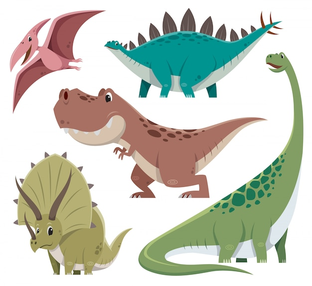 Zestaw znaków dinozaura kreskówka