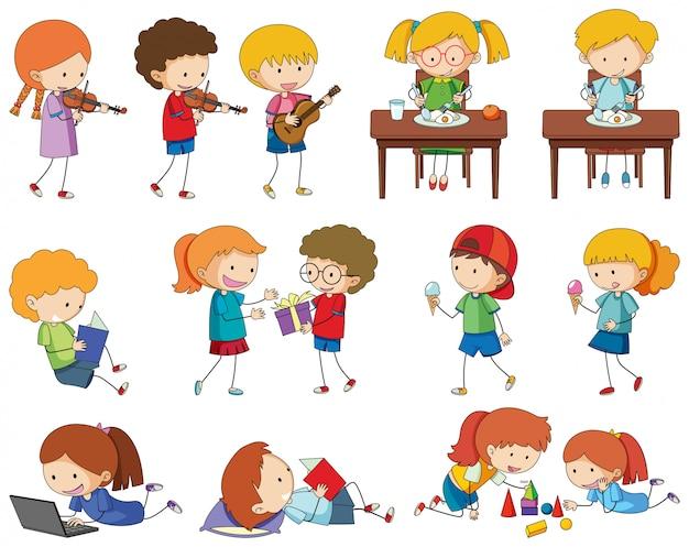 Zestaw znaków doodle dzieci
