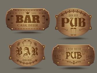 Zestaw znaków drewniane pub bar