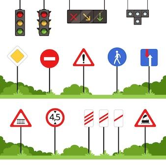 Zestaw znaków drogowych, ilustracje wektorowe różnych znaków drogowych