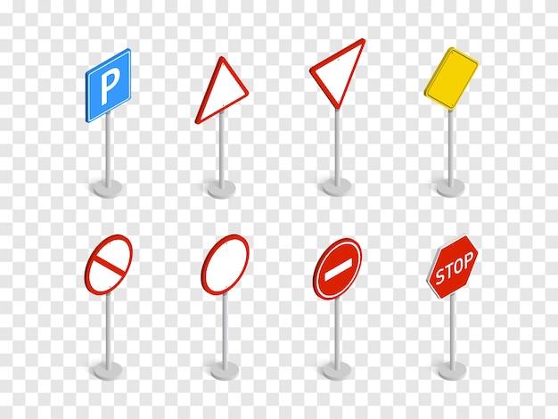 Zestaw znaków drogowych izometryczny na białym tle w kratkę. .