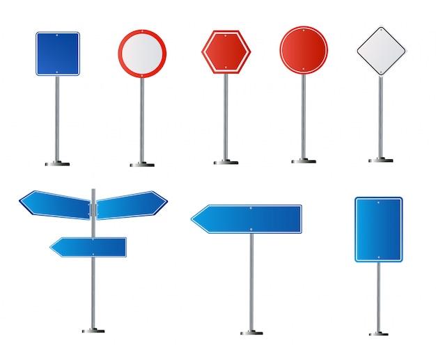Zestaw znaków drogowych na białym tle. ilustracja