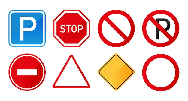 Zestaw znaków drogowych na białym tle. szyld drogowy.