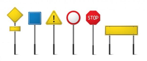 Zestaw znaków drogowych na białym tle.