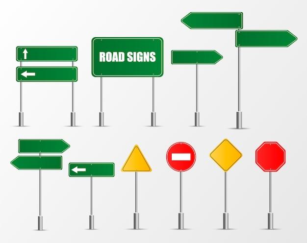 Zestaw znaków drogowych na białym tle