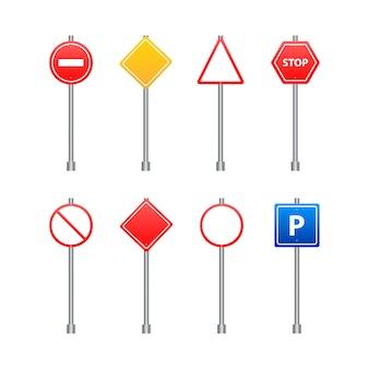 Zestaw znaków drogowych na przezroczystym tle. ilustracja.