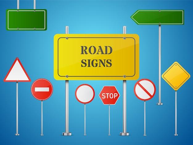 Zestaw znaków drogowych na przezroczystym tle