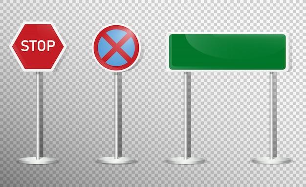 Zestaw znaków drogowych na przezroczystym tle. .