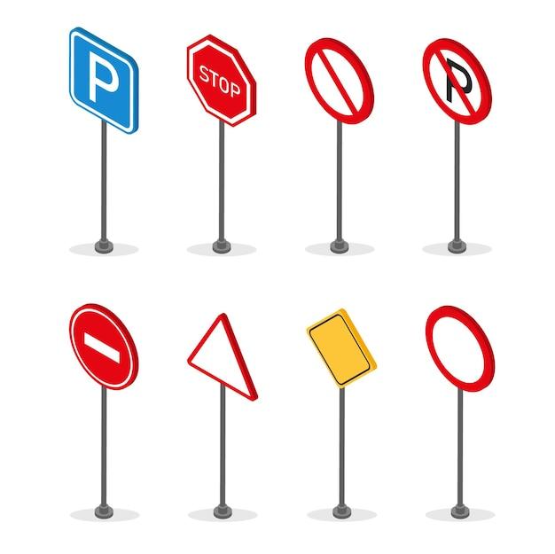 Zestaw znaków drogowych stojących izometryczny na białym tle. szyld drogowy.