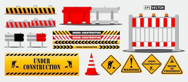 Zestaw znaków drogowych z barierą drogową lub ostrzeżenie na placu budowy lub autostrada blokująca barykadę