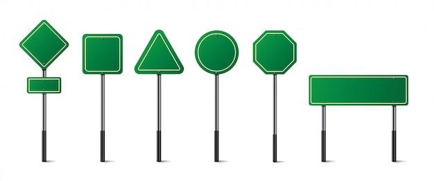Zestaw znaków drogowych zielony na białym tle.