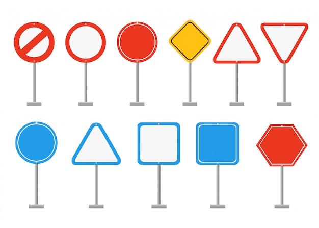 Zestaw znaków drogowych. znaki drogowe z pustym miejscem, miejsce na symbole lub zdjęcie. ilustracja na białym tle. strona internetowa i aplikacja mobilna