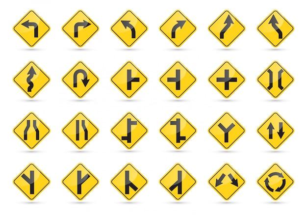 Zestaw znaków drogowych. żółte znaki drogowe.