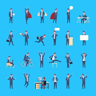 Zestaw znaków działalności człowieka mężczyzna pracownik biurowy pozowanie biznesmen corporate różne sytuacje kolekcja