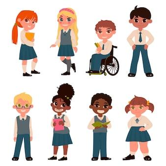 Zestaw znaków dzieci w wieku szkolnym na białym tle ilustracja wektorowa w stylu płaski