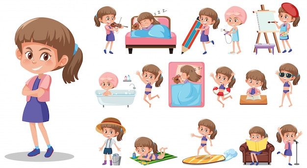 Zestaw znaków dziecko z różnych wyrażeń na białym tle
