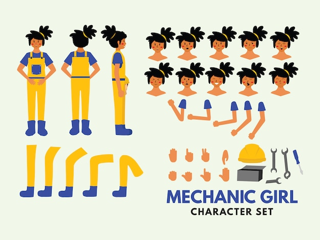Zestaw znaków dziewczyna mechanik