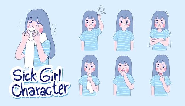 Zestaw znaków dziewczyny. dziewczyna ma ilustrację choroby.