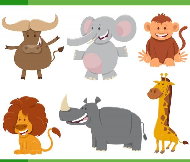 Zestaw znaków dzikich afrykańskich zwierząt kreskówki