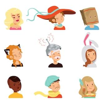 Zestaw znaków dziwnych ludzi, ilustracje różnych śmiesznych twarzy