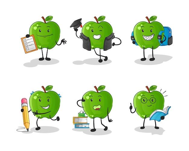 Zestaw znaków edukacji zielone jabłko. kreskówka maskotka